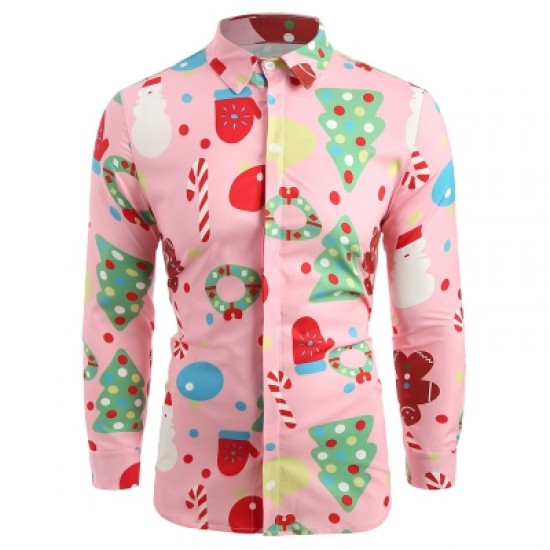 Christmas Theme Button Up Shirt