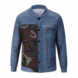 Camouflage and Denim Pattern Jacket