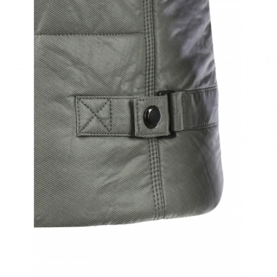 Zippered Buckled Texture Padded Jacket