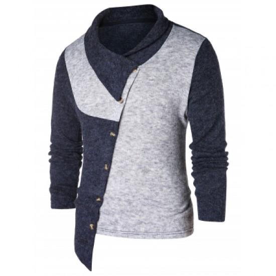 Asymmetric Panel Shawl Collar Sweater