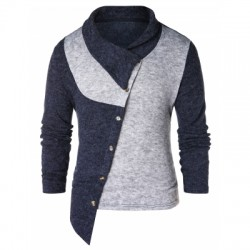 Asymmetric Panel Shawl Collar Sweater