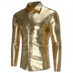Paisley Print Metallic Button Up Shirt