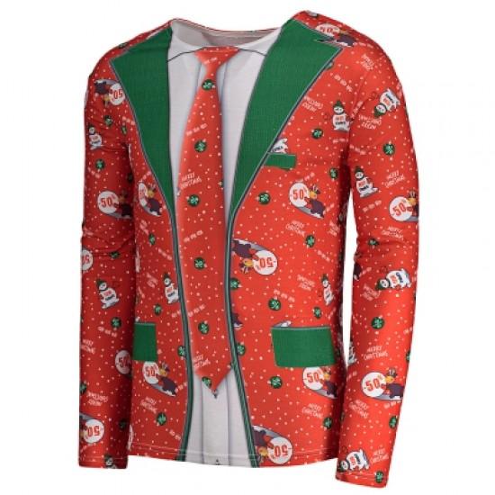 Allover Christmas Pattern Long Sleeve T-shirt