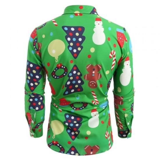 Christmas Theme Button Up Shirt