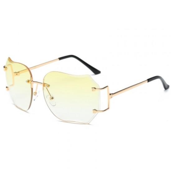 Oversized Designer Clear Lens Sunglasses Rimless Metal Frame Eye Glasses Lady SU