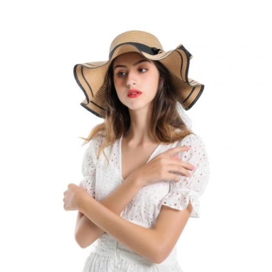 SALYBABY Spring Elegant Wavy Brim with Bow-Knot Beach Straw Hat