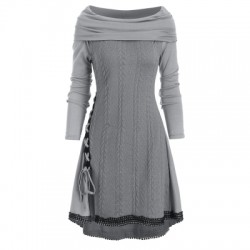 Lace Up Cowl Neck Guipure Insert Knitwear