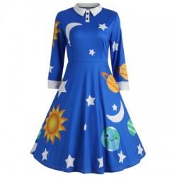 Long Sleeve Sun Moon Star Print A-line Women Dress