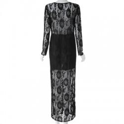 Plunging Neckline Long Sleeve Dress For Women
