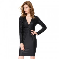 Faux Leather Packet Buttock Dress