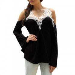 Lace Splicing Cold Shoulder Color Block T-Shirt