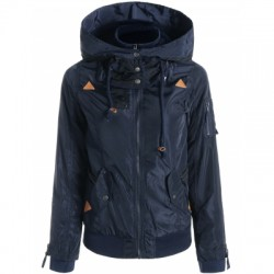 Hooded Long Sleeve Zip Up Spliced Coat