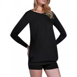 Plunging Neck Long Sleeve Solid Color Pocket Design Dress