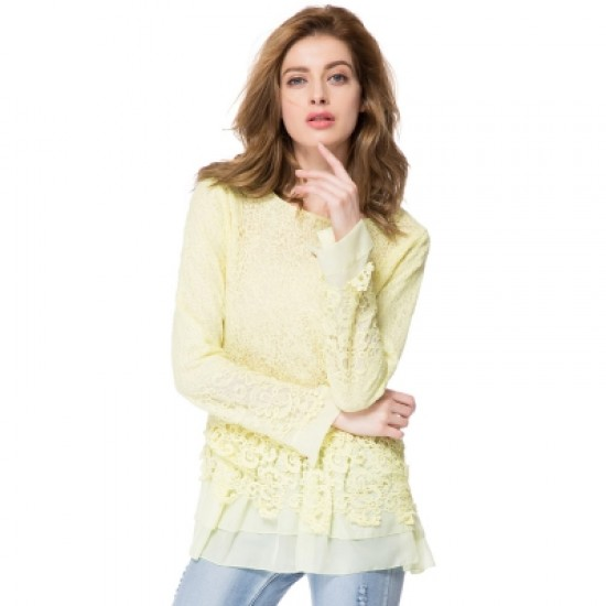 Round Collar Long Sleeve Lace Spliced Blouse