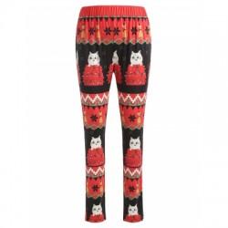Christmas Cat Print Leggings