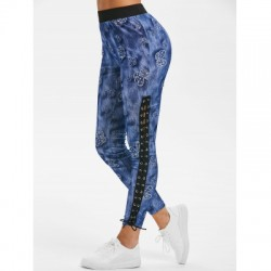 Butterfly Print Lace Up Pants