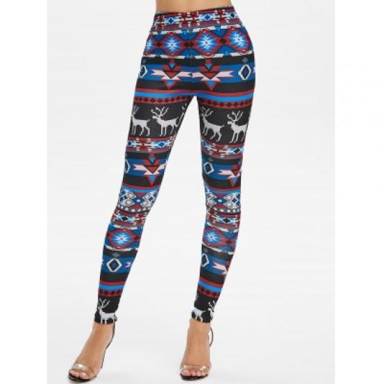 Geometric Elk Print Pants