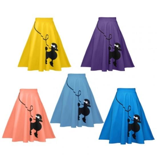 Women Skirt Dog Printed Loose Fold A-line High Waist Zipper